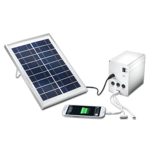 Mobiel solarlicht- en laadsysteem In het bos, bij een meer, tijdens het kamperen, etc. Uw mobiele solarstation levert stroom en licht.
