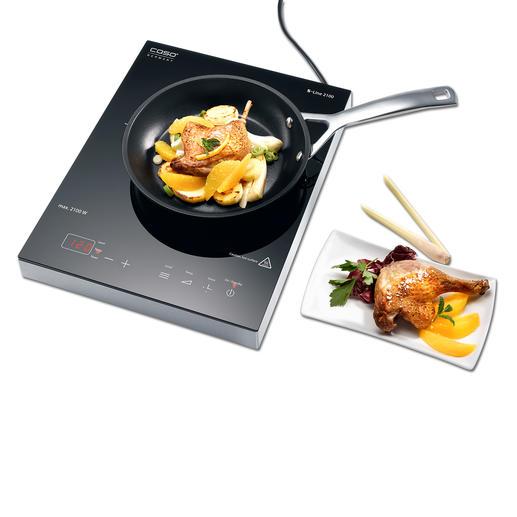 Caso inductie-kookplaat S-Line De inductie-kookplaat met 12 fijn in te stellen temperaturen, zelfs bij lage temperaturen.