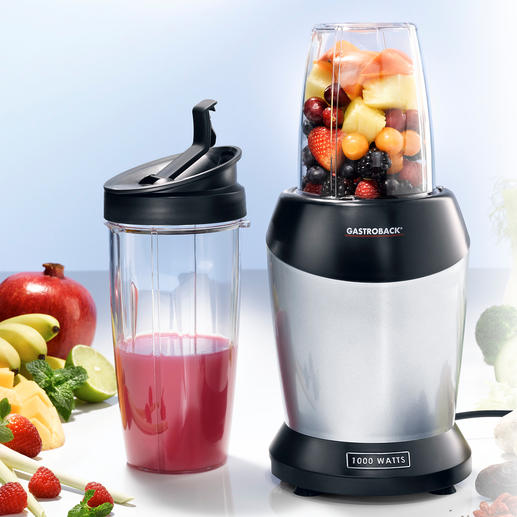 Gastroback smoothie-blender Met maar liefst 1000 W worden fruit en groente geëxtraheerd en zo komen alle gezonde voedingsstoffen vrij.