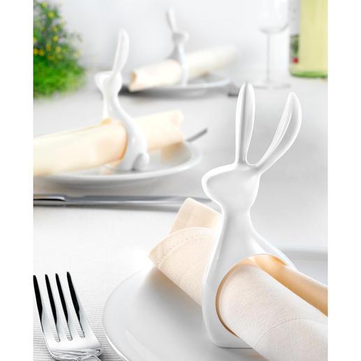 Servetring 'Haasje', set van 6 Praktische servetring, elegante tafeldecoratie en moderne paasversiering.