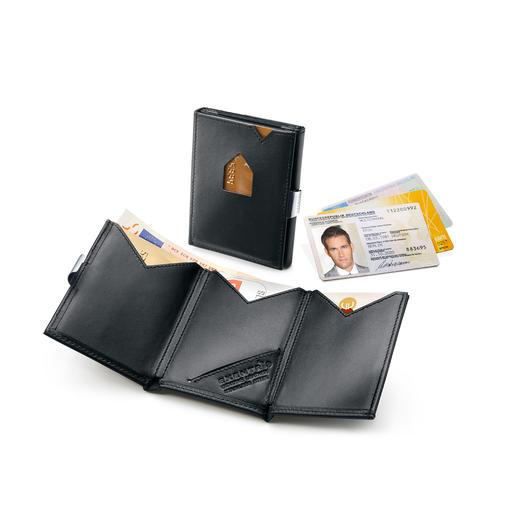 Exentri® Smart Wallet De kaartenhouder met 2 snel toegankelijke vakken. Past gemakkelijk in de zak van de broek of de jas.