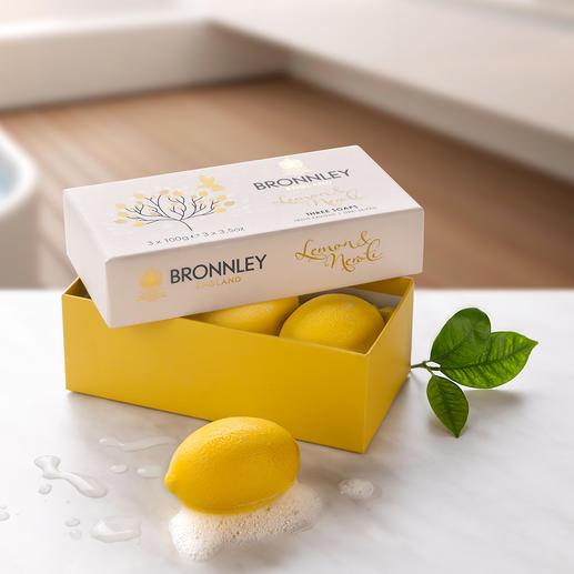Bronnley's Lemon Soap, set van 3 3-voudig gemalen. Met kostbare citroenolie. Van de hofleverancier van het Britse koningshuis.