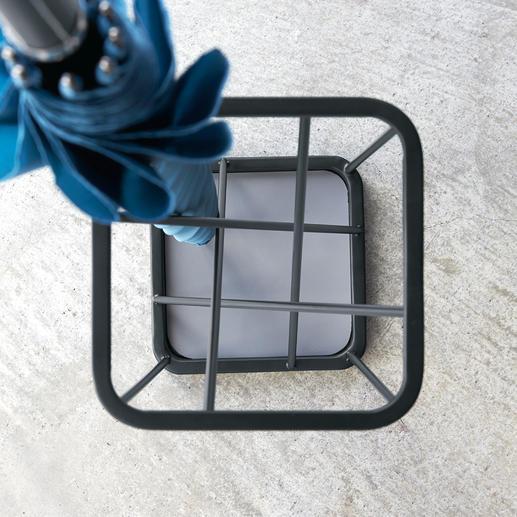 Alleen vanaf boven zijn de 9 vierkante compartimenten zichtbaar.