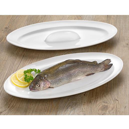 Bak- en serveerschaal voor vis Sappig gebakken vis: aan alle kanten mooi bruin en stijlvol geserveerd.