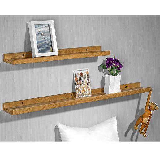 Fotoplanken van echt hout, 2-delige set (60 cm + 90 cm) De trend van nu: uw zelf samengestelde collectie foto's, objecten en souvenirs.