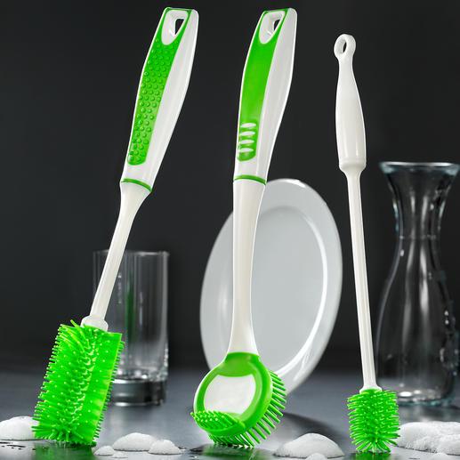 Silicone-afwasborstel, 3-delige set, groen Krachtig tegen vuil, zacht voor het materiaal.