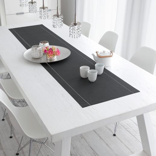 Een blikvanger op uw tafel: katoenen tafelloper in tijdloos antraciet.