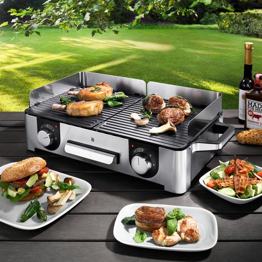 WMF design-tafelgrill LONO Chic Cromargan®-design met een vermogen van 2.400 W en 2 afzonderlijk te bedienen grillplaten. Voor max. 8 personen.