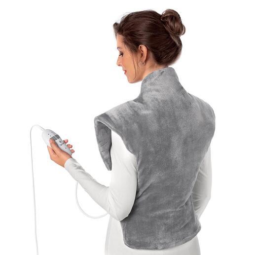 Warmte- en massagekussen Verwarmt u vanaf uw heupen tot boven in uw nek en zit comfortabel om de schouders.