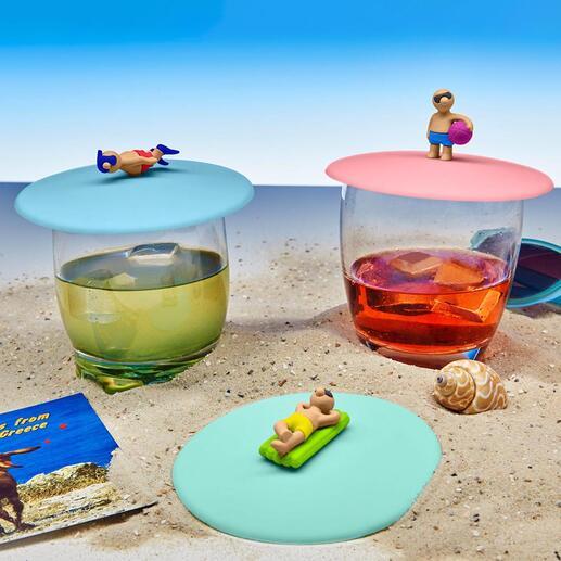 Set van 3 afdekplaatjes voor glazen Deze coole beach boys en girls beschermen uw glas tegen vervelende insecten.