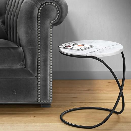 Marmeren tafel Infinity - Veelzijdige bijzettafel met een trendy blad van marmer – elegant als een sculptuur.