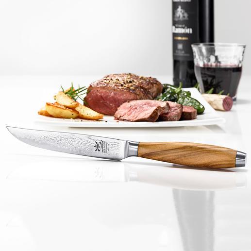 Damast-stalen steakmes, set van 4 Blijvend scherp en nauwkeurig. Kwaliteit made in Germany.
