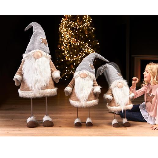 Dansende kabouter 'Noel' Zeldzaam zwierige kerstdecoratie in drie indrukwekkenden formaten. Een eyecatcher in de hal, woonkamer, enz.