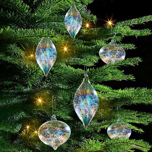 Iriserende glazen kerstboomversiering, 6-dlg. set Kerstboomversiering gevuld met glasdraden en een glans in regenboogkleuren.