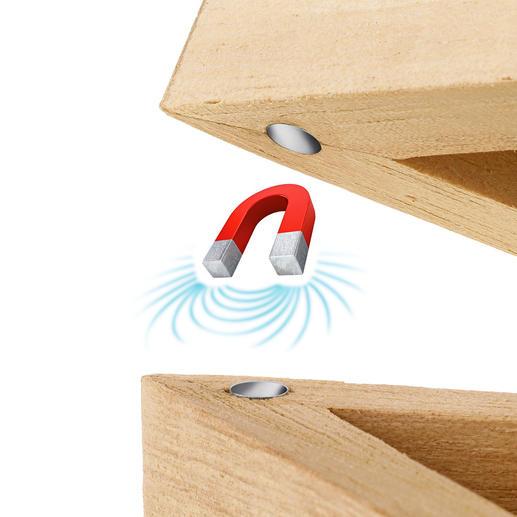 Magneten in de punten van de ster houdt de deksel perfect passend op zijn plek.