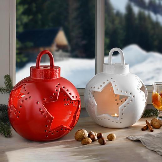 Keramisch windlicht in de vorm van een kerstbal Schitterende blikvanger in elk interieur. Exclusief bij Pro-Idee.