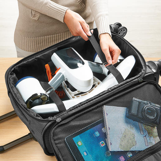 Past in elke trolley en kan gemakkelijk in uw handbagage worden vervoerd.