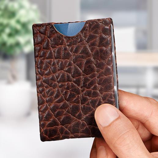 Wallet - Markant bisonleer. Geniaal vierzijdig insteeksysteem.