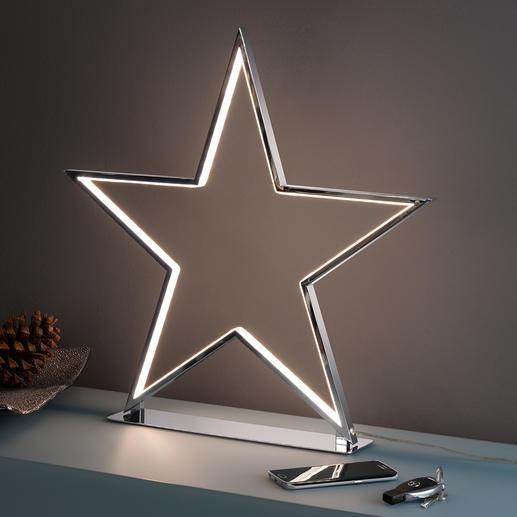 Schijnende ster Cool deco-object dat niet kitscherig is: de chroomster met led-lichtcontouren.