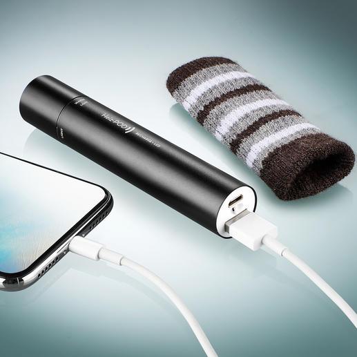 De ingebouwde Li-ionaccu voedt de handwarmer en de lamp, en voorziet smartphone, mp3-speler etc. van nieuwe energie.