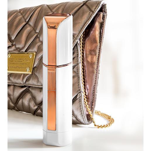 Door zijn discrete lipstick-design ideaal voor in de handtas.