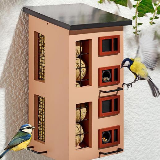 Voederhuisje voor 3 soorten voer Stijlvolle moderne architectuur. Zweedse design.