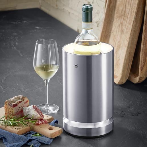 Wijnkoeler met led-verlichting De ice-pads houden de wijn tot wel 4 uur lang op de perfecte drinktemperatuur.