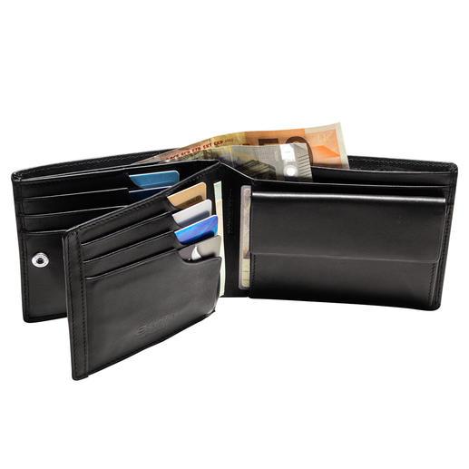 Gepatenteerde leren beurs met RFID-bescherming De leren beurs met gepatenteerd veiligheidssysteem voor uw creditcards.