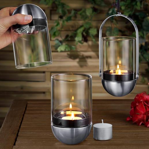 Gravity candle windlicht - Super: kardanisch opgehangen windlicht, in een handomdraai uit te doen met schone handen.