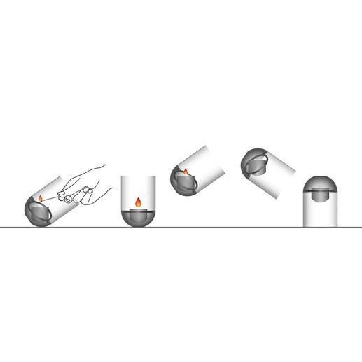 Om de vlam te doven, hoeft u het windlicht alleen maar op zijn kop te houden.