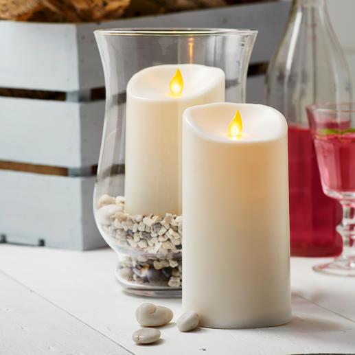 TWINKLE ledkaars voor buiten - Bewegende vlamplaatjes laten de kaarsen natuurgetrouw flikkeren. Voor binnen en buiten.