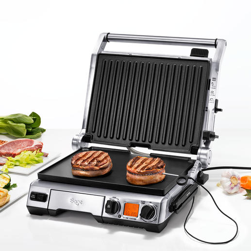 Smart Grill™ Pro Meet constant de kerntemperatuur. Past grilltijd en temperatuur zelfstandig aan en geeft de optimale tijd aan voor het nagaarproces.