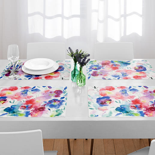 Tafelsets aquarel, set van 6 Tafelsets met trendy bloemenmotieven. Blijvend mooi en stevig, een plezier voor elke dag.