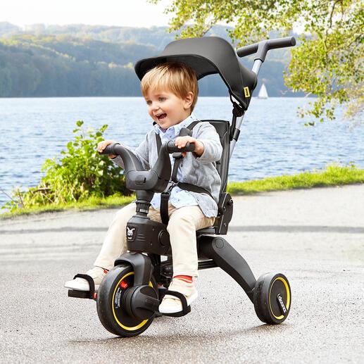 Inklapbare compacte driewieler Liki In enkele seconden in te klappen tot het formaat van handbagage. Voor kinderen van 10 maanden tot 3 jaar.