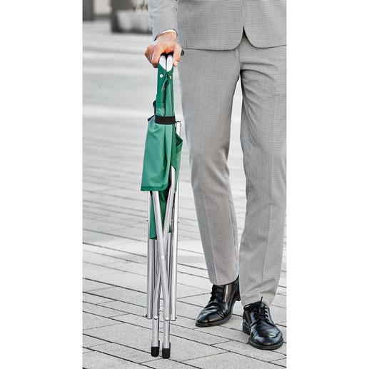 In een handomdraai in elkaar te klappen: handig als wandelstok.