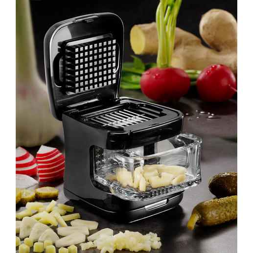 4-in-1-knoflooksnijder Compact. Handzaam. Veelzijdig: een knoflooksnijder voor plakjes, reepjes, blokjes of geperste knoflook.