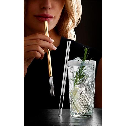 Glazen rietje in chique uitvoering - De chique variant van het glazen rietje: stijlvol afgewerkt met platina of goud.