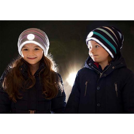 Twinkle Kid® reflector-beanie Veilig en cool: de trendy gebreide beanie-muts met helder lichteffect.