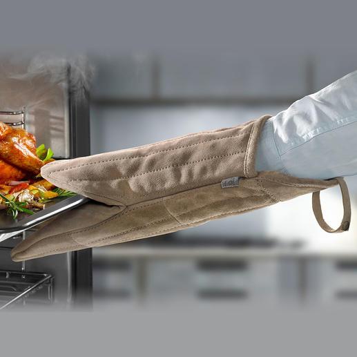 Oven- /barbecuehandschoen gemaakt van suède Meer grip, veiliger: de 38 cm lange ovenhandschoen gemaakt van zacht suède.
