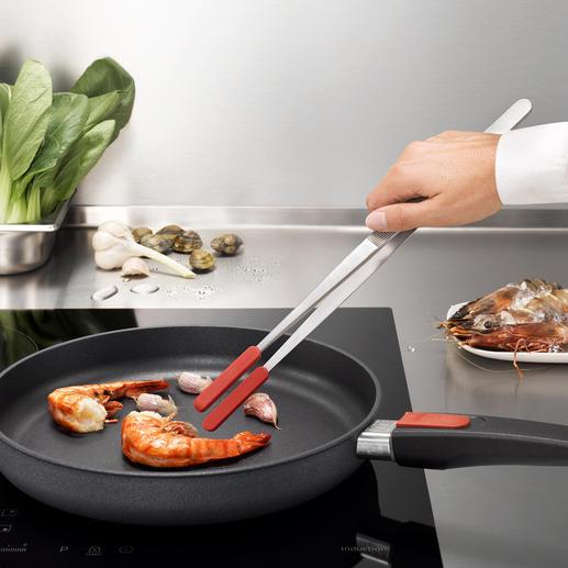 Keukenpincet met op te schuiven siliconebescherming - IJzersterk. Ook handig om te gebruiken bij pannen met een coating.