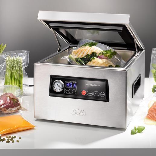 Solis vacumeermachine met kamer Ook handig voor vloeibare levensmiddelen en sous-vide-garen.