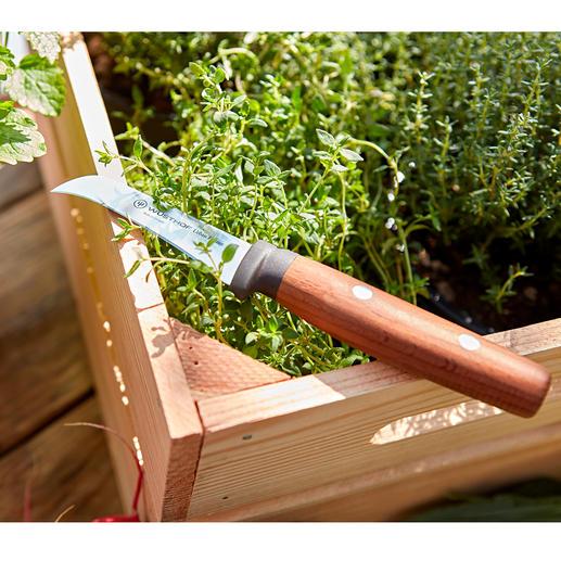 Wüsthof tuinmes Professioneel mes voor het tuinieren: nauwkeurig, scherp en met een gekromd lemmet.