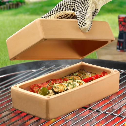 RÖMERTOPF® BBQ Brick Ovenschaal om op een smakelijke manier vet- en caloriearm mee te grillen, smoren, stoven, bakken, …