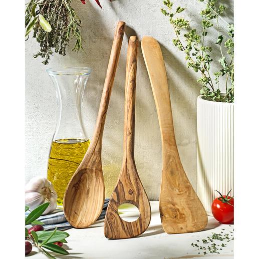 Olijfhouten keukengerei, 3-delig Met de hand gemaakt, blijft jarenlang mooi. Veilig te gebruiken bij gevoelige antiaanbaklagen.