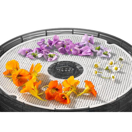 Op het meegeleverde kruidenmatje kunt u op een veilige manier kruiden en bloemen drogen.