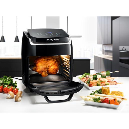 Hot Air Fryer Bistro Vital Braadt, bakt, smoort, droogt, grilt, gratineert, roostert en verwarmt. Gezond, vet- en caloriearm.