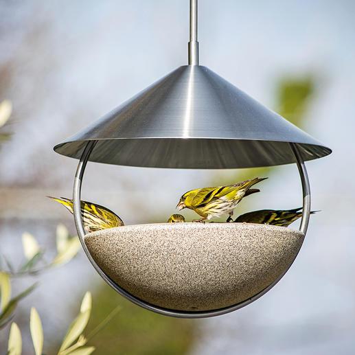 Hangende vogelwaterbak Luca Rondom open voor vrij aan- en weervliegen. Van Granicium®.