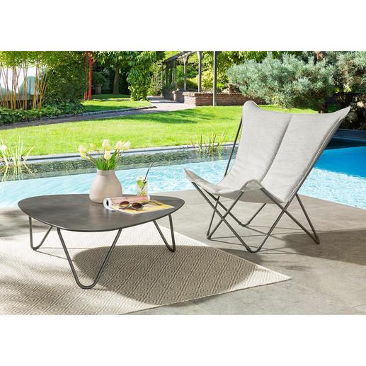 Inklapbare loungestoel Sphinx Zo comfortabel als een loungestoel, maar compact inklapbaar, licht en gemakkelijk mee te nemen.