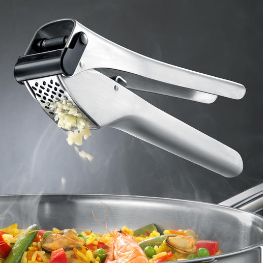 Knoflookpers Garlico Bekroonde knoflookpers: met extra grote perskamer en automatische schraper.