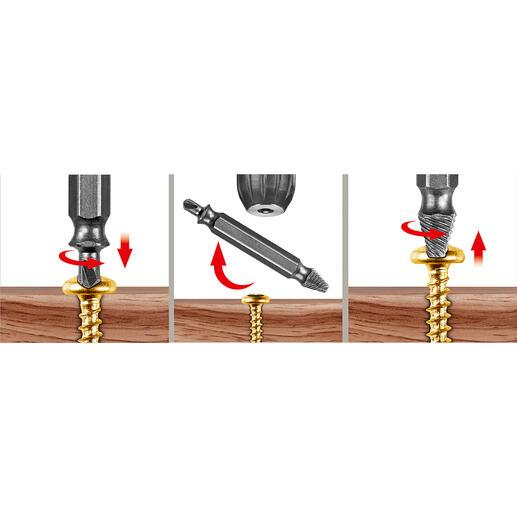 In 3 stappen probleemschroeven losdraaien: een gat in de schroef boren, het bitje omdraaien en de schroef er uitdraaien- klaar.